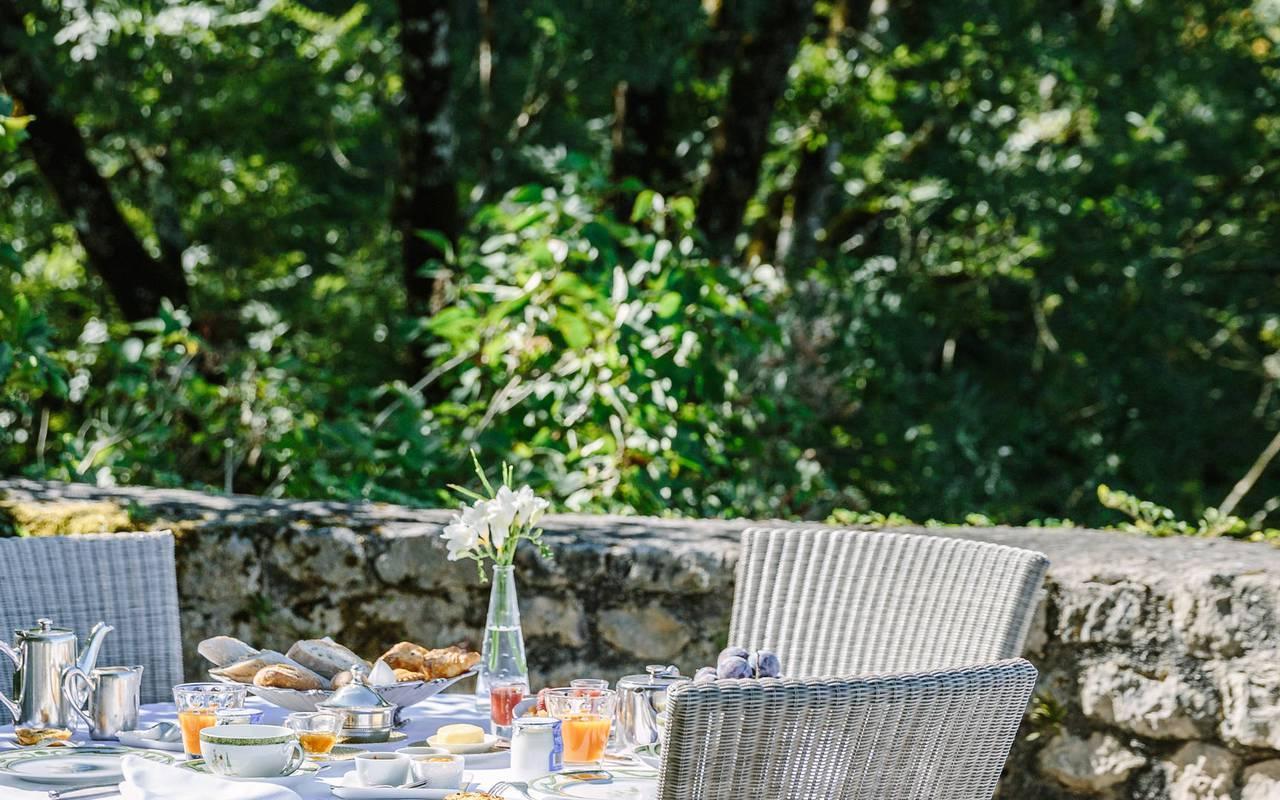 Petit déjeuner Restaurant Dordogne Château de la Treyne