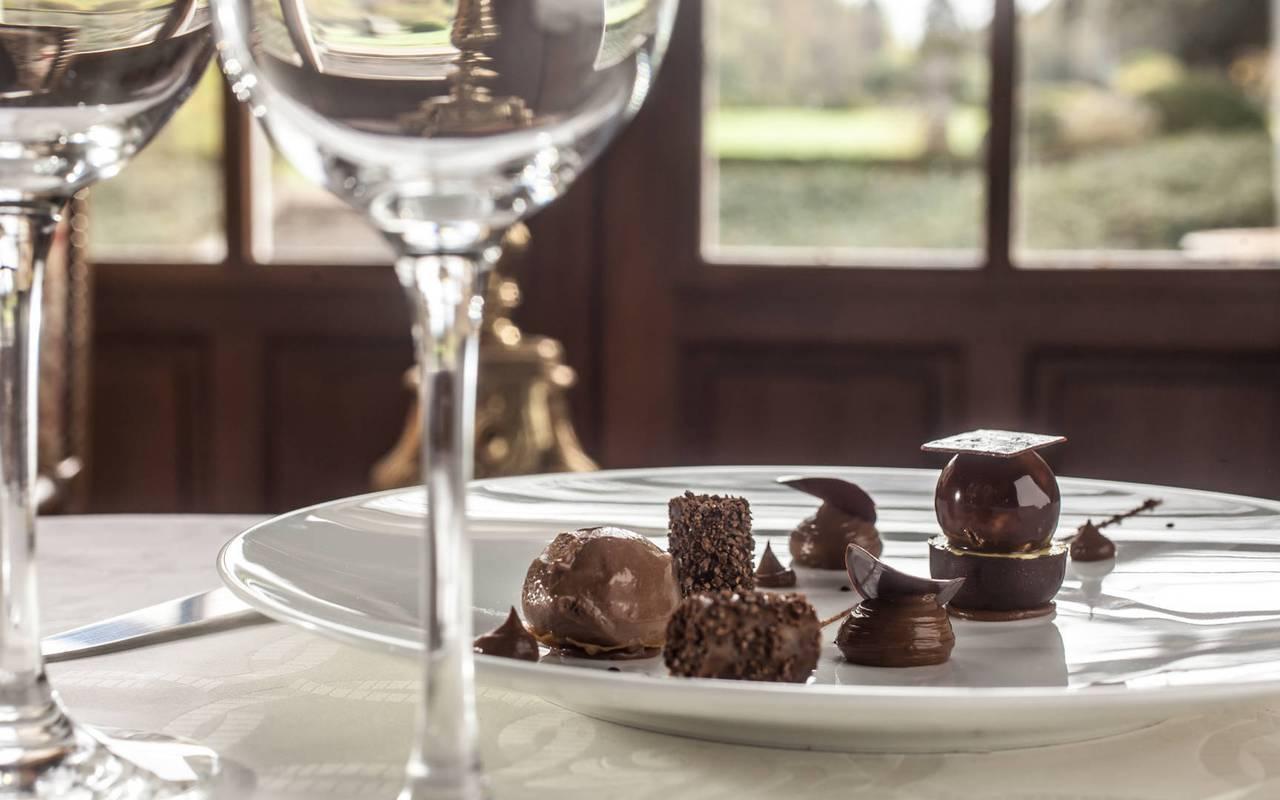 Chocolate dessert restaurant Rocamadour Château de la Treyne