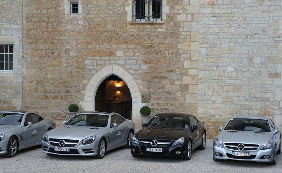 Mercedes cars in front of the castle - Chateau de la treyne