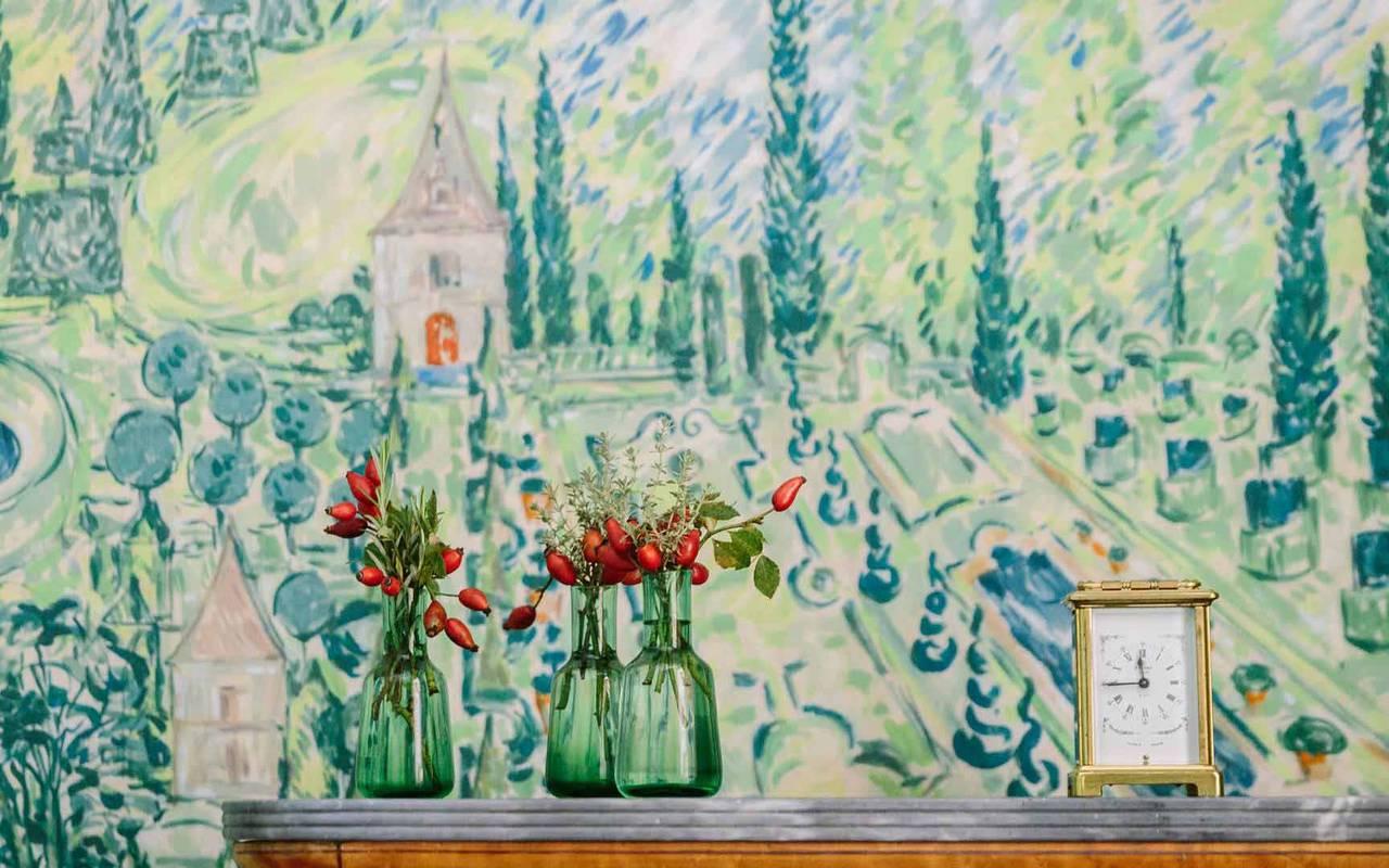 Papier peint dans chambre la favorite - chateau de la treyne
