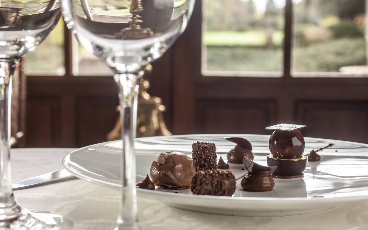 Dessert au chocolat restaurant Rocamadour Château de la Treyne