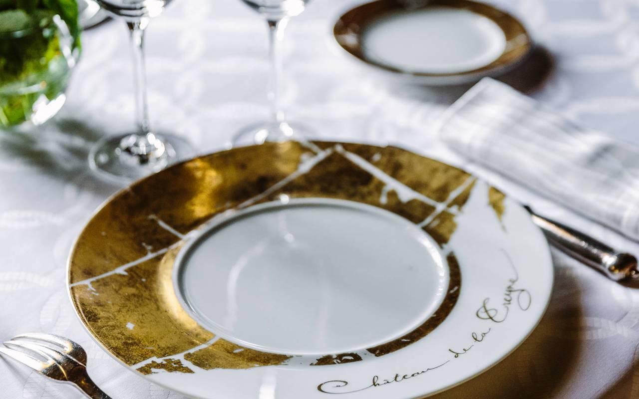 Assiette restaurant dordogne Château de la Treyne